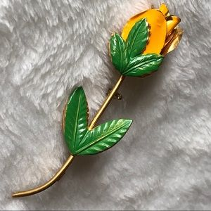 vintage YELLOW ROSE enamel BROOCH signed ~Austria~